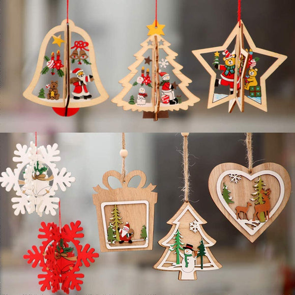 5pcs Christmas Wooden Hanging Ornaments Pendants
