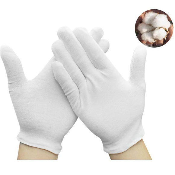 12Pairs White Cotton Gloves for Cosmetic Moisturizing Coin Jewelry
