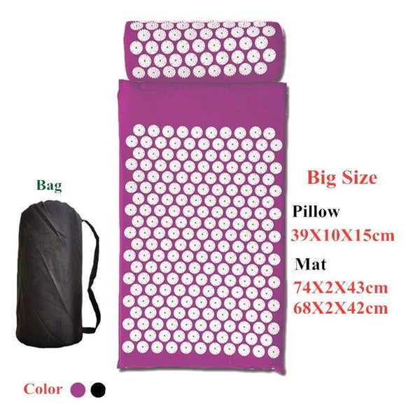 74x43cm Massage Cushion Yoga Acupressure Mat and Pillow Set Neck Back Foot Massager Pain Relief