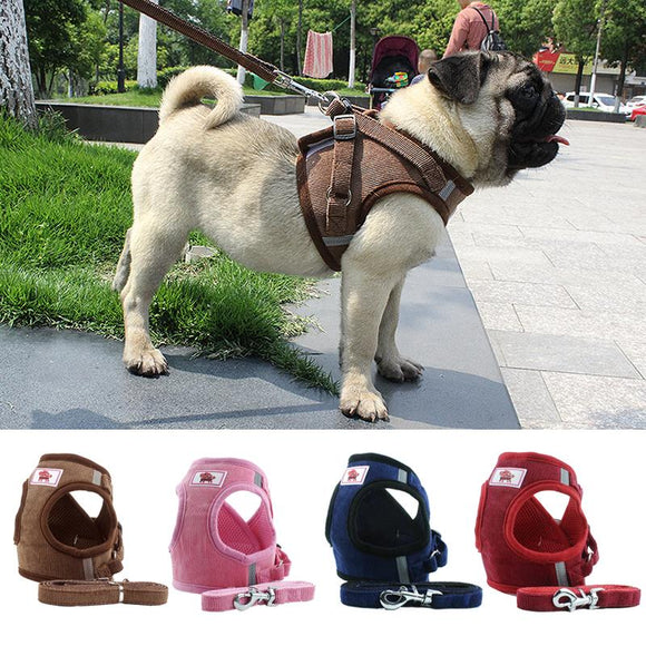 Adjustable Corduroy Mesh Warm Walking Dog Cat Harness Vest with Leash