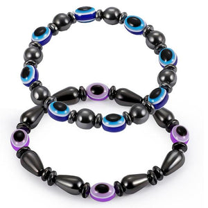 2pcs Black and Blue Purple Stone Magnetic Therapy Bracelet Health Care Jewelry