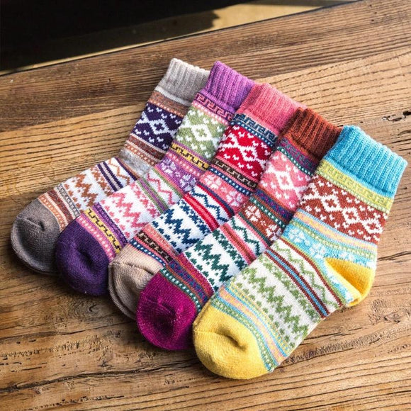 5 Pairs Bohemian Style High Elastic Ethnic Warm Socks