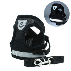 Breathable Mesh Reflective Walking Vest Dog Lead Leash & Harness