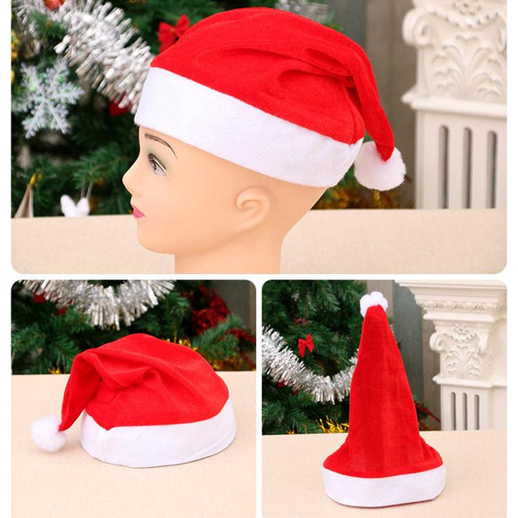 5pcs Christmas Santa Claus Hat Unisex Short Plush Xmas Cap
