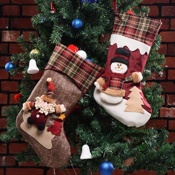 Large 18inch Christmas Stocking Candy Bag Hanging Stockings Xmas Tree Decor