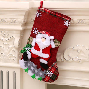 Christmas Stocking Candy Bag Flax Hanging Stockings Xmas Tree Decor