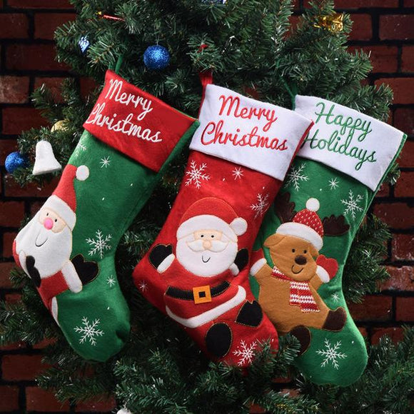 Christmas Stocking Candy Bag Large 18inch Hanging Stockings Xmas Tree Decor