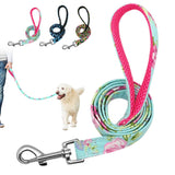Durable Floral Printed Dog Leash for Small Medium Large Dogs