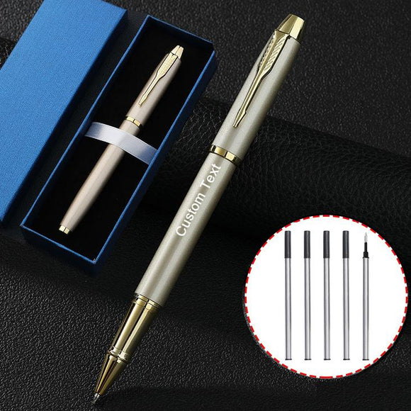 Free Engraving Personalized Black Ink Roller Ballpoint Pen  with 5 Refills