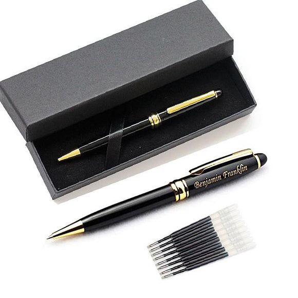 Free Engraving Personalized Expert Black Roller Ballpoint Pen with 8 Refills