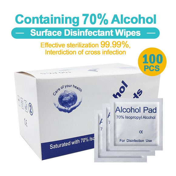 Mini 70% Alcohol Prep Pads Skin Swabs Wipes Cleansing Sterile Disinfection Pads