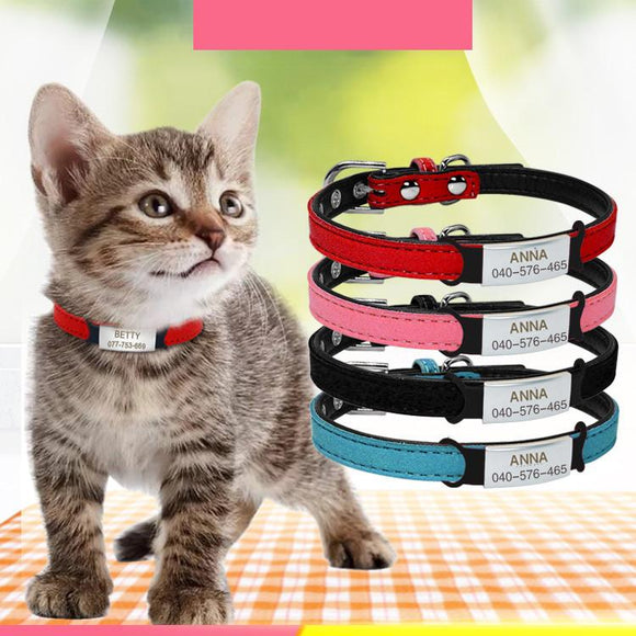 Personalized Small Dog Cat Puppy Kitty Soft Collar with Engraved Name Phone Number