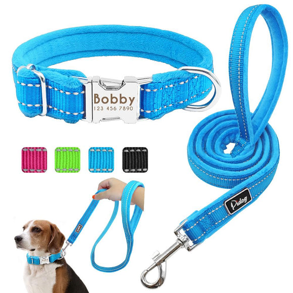 Personalized Reflective Nylon Soft Padded Dog Collar with Engrave Nameplate