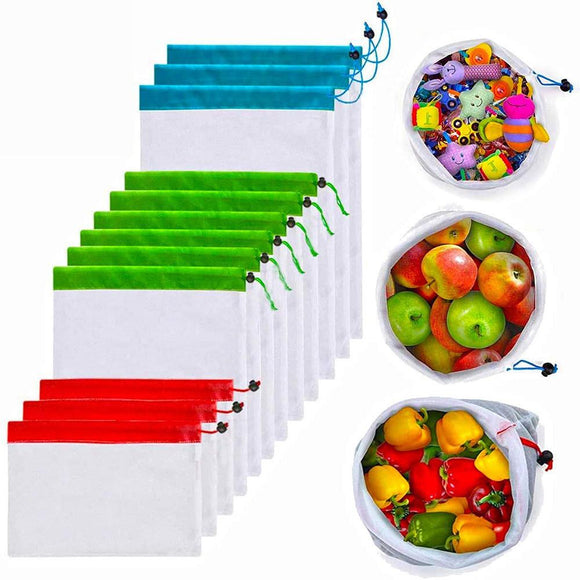 12pcs Reusable Mesh Fruits Food Storage Bag Shopping Pouch