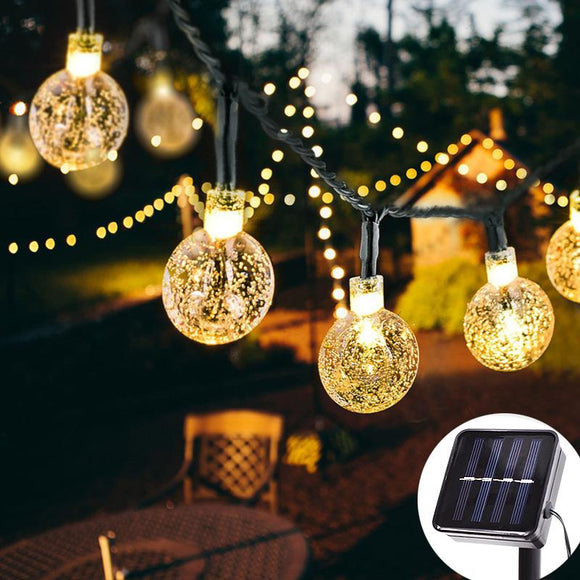 10/30 LED Solar Powered Waterproof Crystal Globe Balls Fairy String Lights