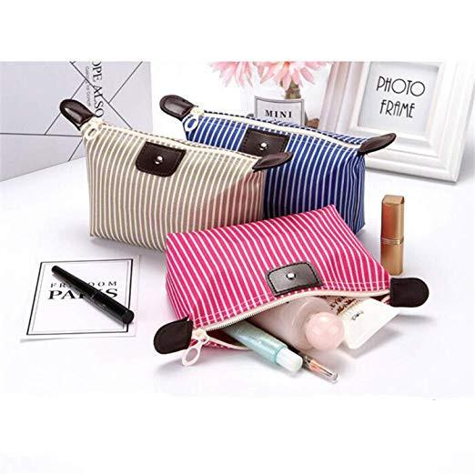 Stripe Women Dumpling Travel Makeup Bag Toiletry Cosmetic Bag