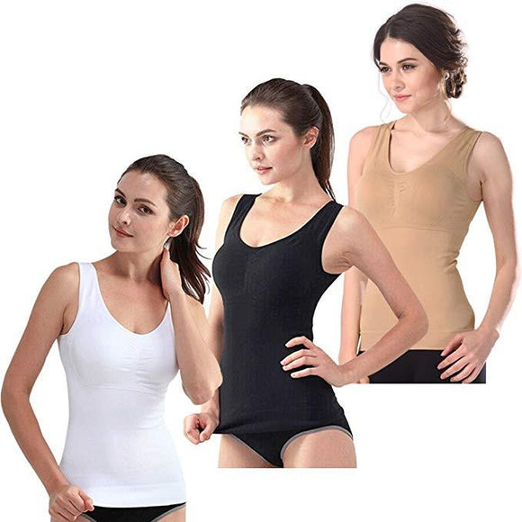 3 Packs Women Cami Shaper Tank Top with Built in Bra Removable