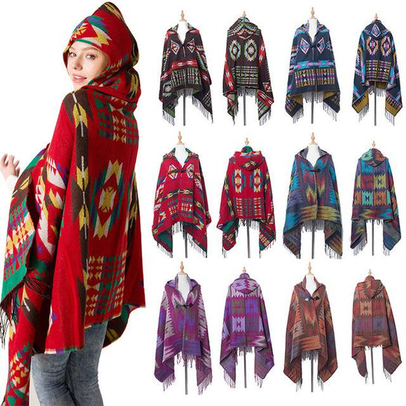 Women's Bohemian Casual Winter Hooded Shawl Plaid Capes Blanket