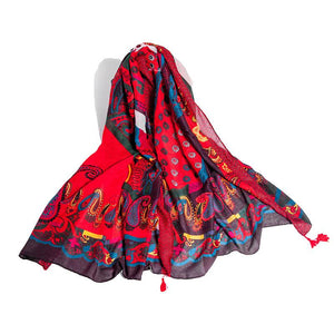 Women's Silk Feeling Scarf Lightweight Sunscreen Wraps Shawls