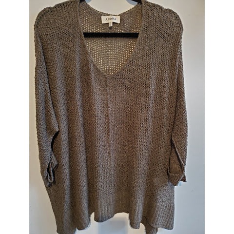 Olive green v-neck sweater-plus size - Shop Jezebel's