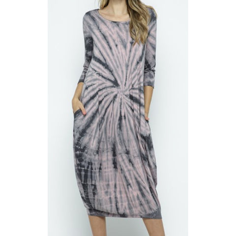 Tie Dye Mid Length bubble hem dress