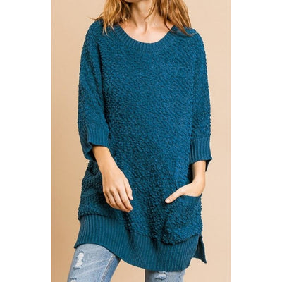 3/4 Sleeve Sweater with Pockets - Shop Jezebel's