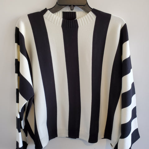 Black & White Stripe Sweater - Shop Jezebel's