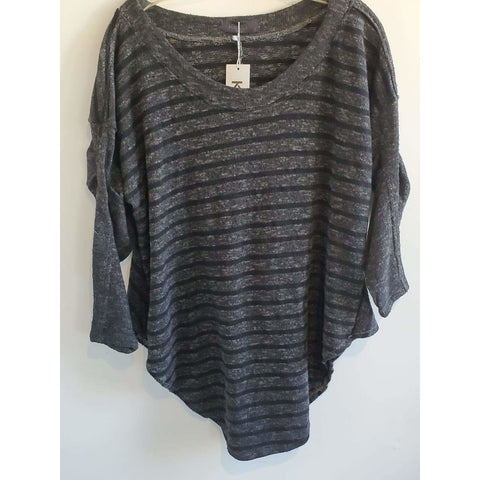 Kekoo black and gray stripe sweater - Shop Jezebel's