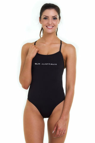 Back in Black Straight One Piece - Slix Australia,  Training Swimwear, Girls Swimwear, Chlorine Resistant, Training Bikini, Swimming, Slix, Slix swimwear, training swimwear, swimming costume, chlorine resistant swimwear, Australian made swimwear