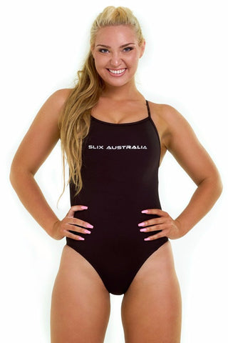 Back in Black Curve One Piece - Slix Australia,  Training Swimwear, Girls Swimwear, Chlorine Resistant, Training Bikini, Swimming, Slix, Slix swimwear, training swimwear, swimming costume, chlorine resistant swimwear, Australian made swimwear