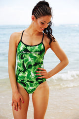 Green Feather Effect One Piece - Slix Australia Training Swimwear, Girls Swimwear, Chlorine Resistant, Training Bikini, Swimming