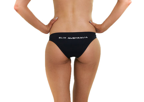 Black Brazil Brief - Slix Australia,  Training Swimwear, Girls Swimwear, Chlorine Resistant, Training Bikini, Swimming, Slix, Slix swimwear, training swimwear, swimming costume, chlorine resistant swimwear, Australian made swimwear