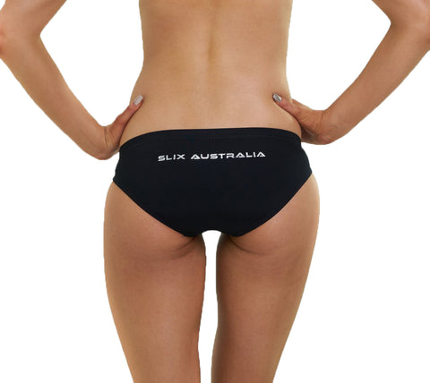Black Classic Hipster Brief - Slix Australia,  Training Swimwear, Girls Swimwear, Chlorine Resistant, Training Bikini, Swimming, Slix, Slix swimwear, training swimwear, swimming costume, chlorine resistant swimwear, Australian made swimwear