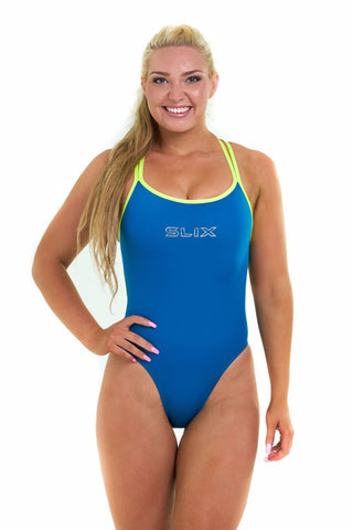 Neon Ocean Hybrid One Piece - Slix Australia,  Training Swimwear, Girls Swimwear, Chlorine Resistant, Training Bikini, Swimming, Slix, Slix swimwear, training swimwear, swimming costume, chlorine resistant swimwear, Australian made swimwear