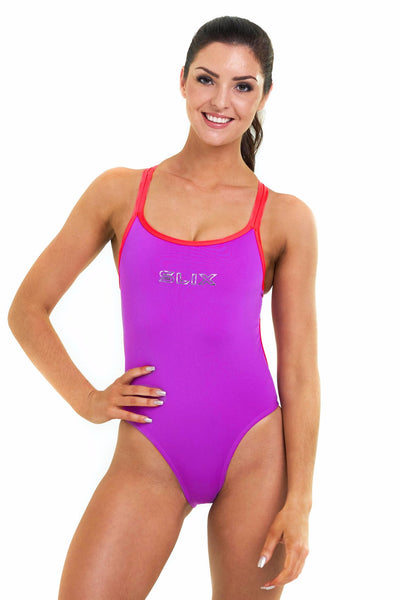 Neon Orchid Hybrid One Piece - Slix Australia,  Training Swimwear, Girls Swimwear, Chlorine Resistant, Training Bikini, Swimming, Slix, Slix swimwear, training swimwear, swimming costume, chlorine resistant swimwear, Australian made swimwear