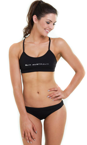 Back in Black Training Bikini - Slix Australia,  Training Swimwear, Girls Swimwear, Chlorine Resistant, Training Bikini, Swimming, Slix, Slix swimwear, training swimwear, swimming costume, chlorine resistant swimwear, Australian made swimwear