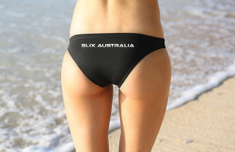 Back in Black 'Cheekie' Brief - Slix Australia Training Swimwear, Girls Swimwear, Chlorine Resistant, Training Bikini, Swimming