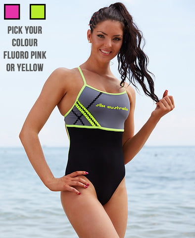 One Direction One Piece - Pink or Yellow -COSTUME OF THE DAY - Slix Australia Training Swimwear, Girls Swimwear, Chlorine Resistant, Training Bikini, Swimming