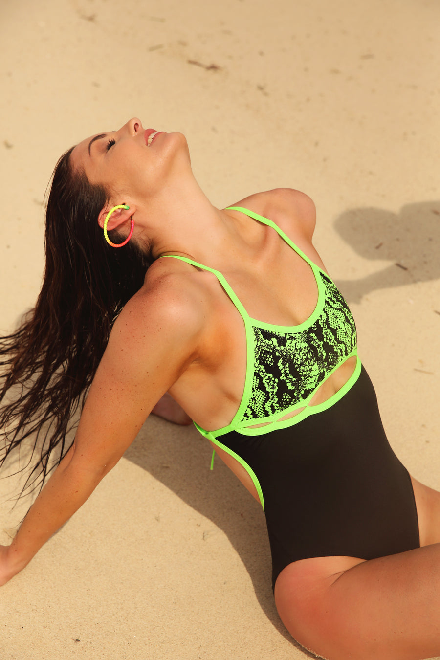 NEON GREEN PEEKABOO ONE PIECE