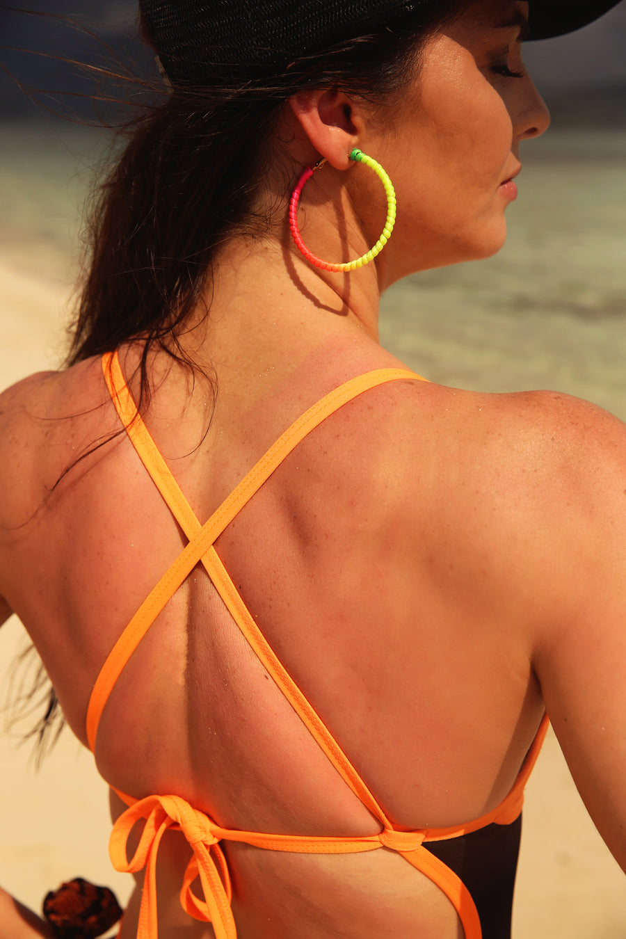 NEON ORANGE PEEKABOO ONE PIECE