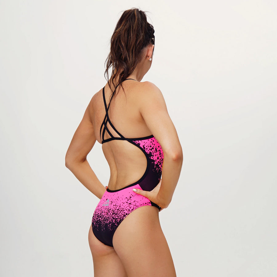 Splish Splash Neon Pink Straight One Piece