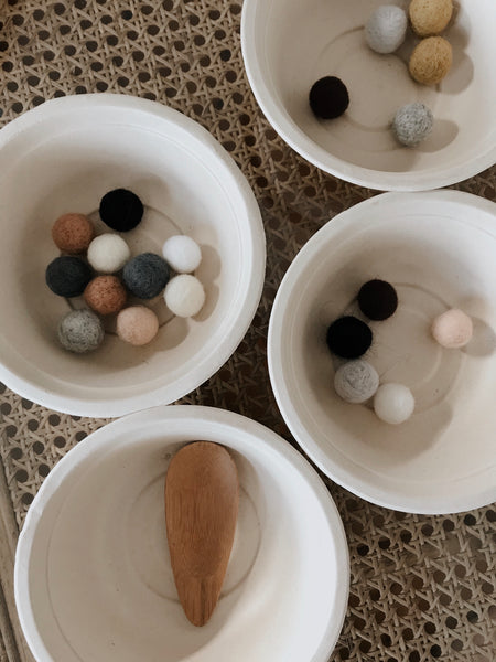 ❀ wooly felt ball sorting kit