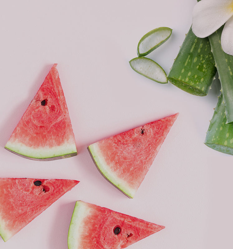 Ópalens all natural skin care product ingrediants - Watermelon and aloe vera
