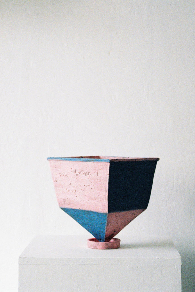 Pink and Blue Pointed Square Planter