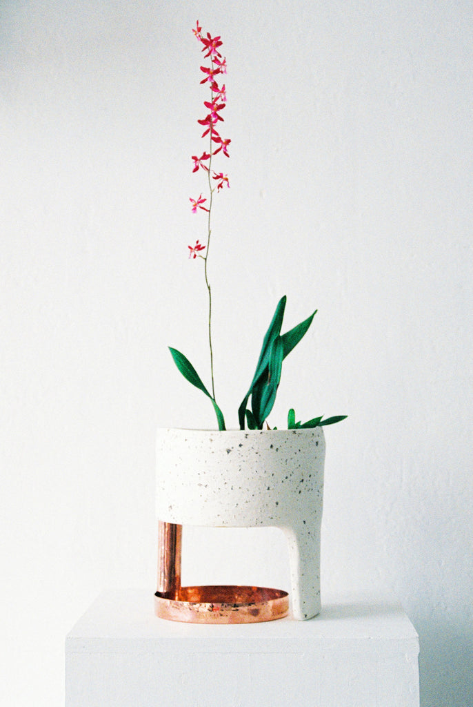 One Leg Copper Planter #1