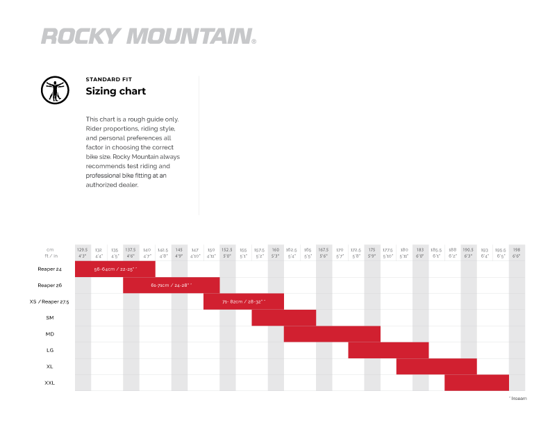 Rocky Mountain Size Chart