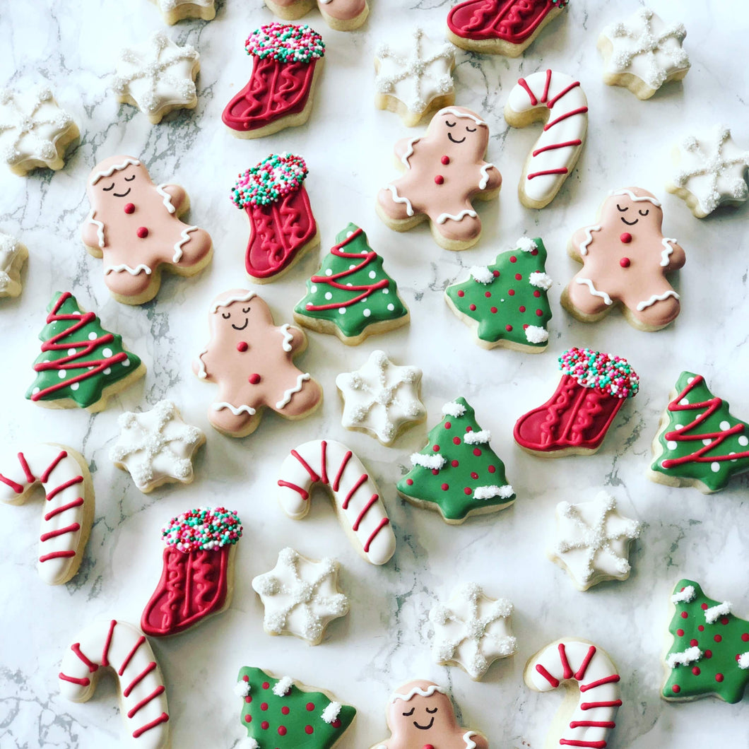 12 mini Christmas themed cookies