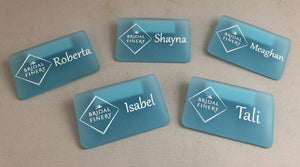 2x Laser Engraved Frosted Acrylic Name Tags with Magnetic Holder