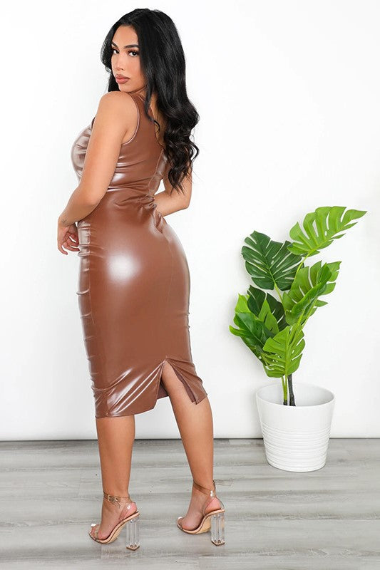 Jouy One Shoulde Cutout Leather Dress