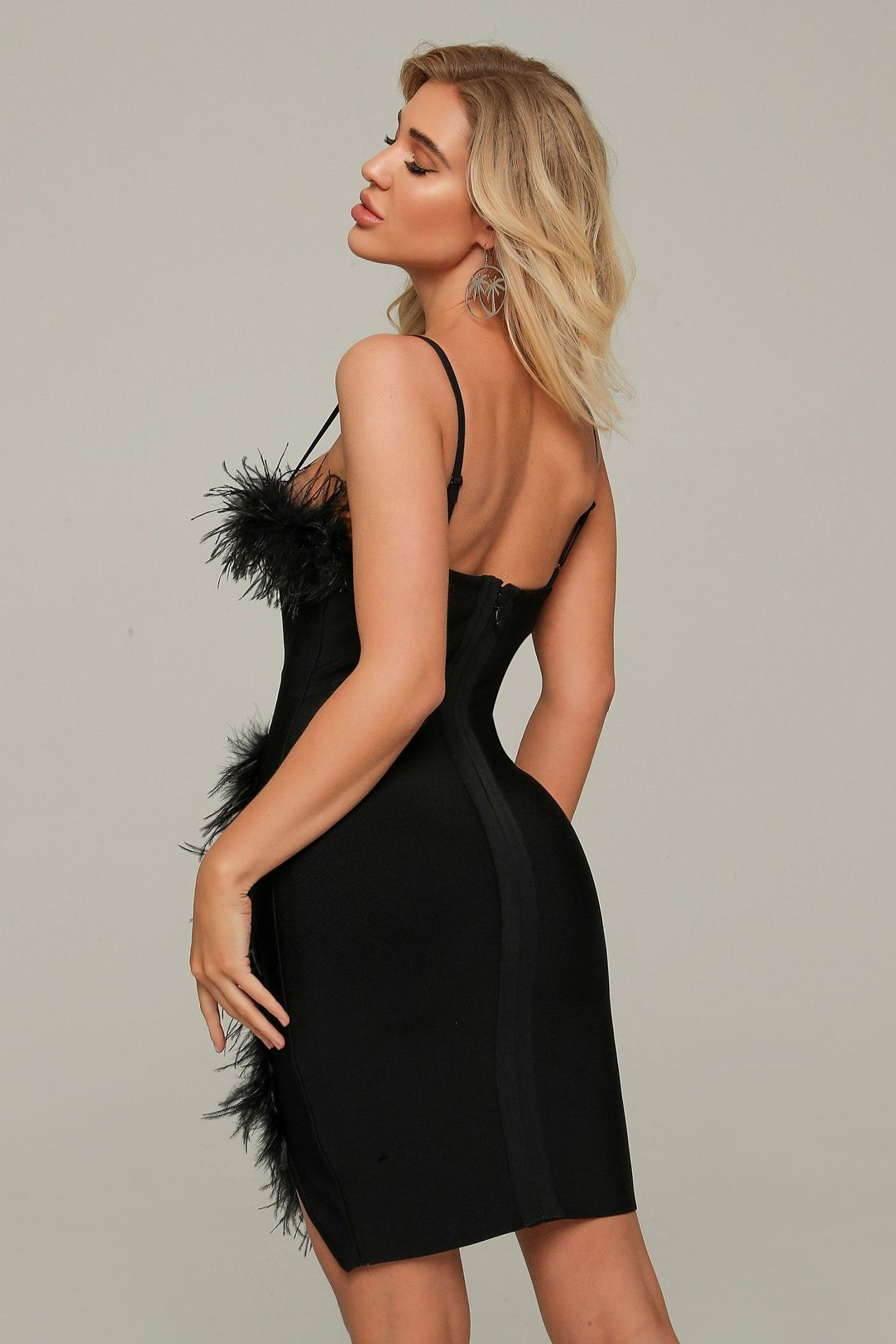 Feather Bandage Mini Dress Black